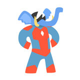 Elephant Animal Dressed As Superhero With A Cape Comic Masked Vigilante Geometric Character. Part Of Fauna With Super Powers Flat Cartoon Vector Collection Of Royalty Free Stock Photos