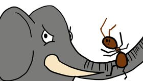 Elephant with ant. Gray elephant with fire ant on its trunk, representing the opposites in size Stock Image