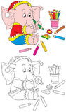 Elephant Artist. The black-and-white and color illustrations of the small elephant drawing with the color pencils Stock Photo