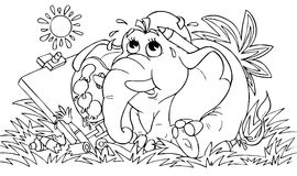 Elephant - artist. Black-and-white illustration (coloring page): funny elephant draws a picture Stock Photography
