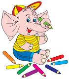 Elephant artist. Vector clip-art / children's book illustration for your design Royalty Free Stock Photography