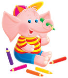 Elephant artist. Clip-art / children's book illustration for your design and scrapbook Stock Image