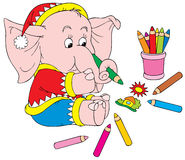 Elephant Artist. Vector clip-art / children's book illustration for your design and scrapbook Royalty Free Stock Photos