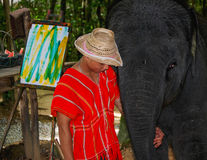 Elephant Artist and Handler Stock Photography