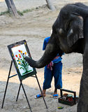 Elephant artist painting Royalty Free Stock Photo
