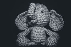 Elephant. B&W handmade crocheted toy elephant Stock Images