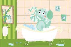 Elephant baby is bathing Royalty Free Stock Photo