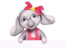 Elephant  baby girl cartoon with poster , 3d rendering Stock Photo