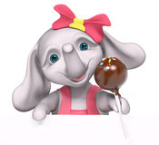 Elephant  baby girl cartoon with poster, holding cake pop, 3d re. Elephant  baby girl cartoon with poster, holding cake pop,  3d rendering Royalty Free Stock Image