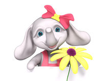 Elephant  baby girl cartoon with poster, holds chamomile in hand Royalty Free Stock Image