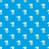 Elephant balancing on a ball pattern seamless blue royalty free illustration