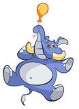 Elephant on balloon. Elephant  floating on small balloon Stock Photo