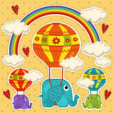 Elephant in a balloon baby card Royalty Free Stock Image