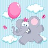 Elephant on balloon Stock Photos