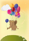 Elephant and balloons. Elephant flying on air colour balls Royalty Free Stock Photo