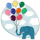 Elephant with balloons Royalty Free Stock Photo
