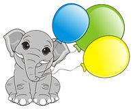 Elephant with balloons Stock Photography