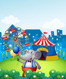 An elephant with balloons in front of a carnival Royalty Free Stock Image