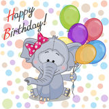 Elephant with balloons Stock Images