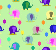 Elephant with the baloon pattern card Stock Photos