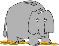 Elephant Bank. This illustration depicts an elephant bank with a coin slot on its back and gold change around its feet Stock Photos