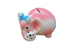 Elephant Bank Isolated on White Background,This have clipping paths. Stock Images