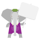 Elephant with banner Royalty Free Stock Photography