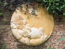 Elephant bas-relief on wall Royalty Free Stock Image