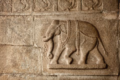 Elephant basrelief in Hampi Royalty Free Stock Images