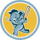Elephant Batting Cricket Bat Cartoon Royalty Free Stock Images