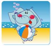 Elephant on the beach. Vector illustration of elephant with the ball on the beach Stock Photo
