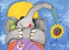 Elephant on the beach. Acrylic illustration of Elephant on the beach Royalty Free Stock Images