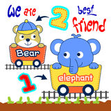 Elephant and bear. Cute elephant and bear are playing together Stock Photo