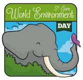 Elephant behind a Bush with a Butterfly in World Environment Day, Vector Illustration. Tender elephant with a butterfly in a squared design to commemorate World Stock Image