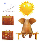 Elephant on a bench , suitcases , sun , birds of white b vector illustration