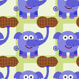 Elephant with big peanut seamless background design Royalty Free Stock Images