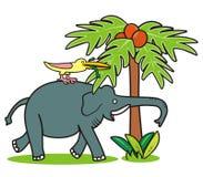 Elephant and bird Royalty Free Stock Image