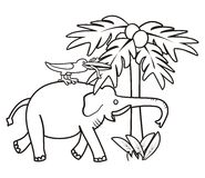 Elephant and bird - coloring book Royalty Free Stock Image
