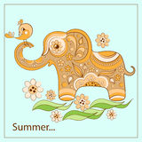Elephant and birdie on a card. Vector illustration Royalty Free Stock Photography