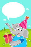Elephant with birthday gift Royalty Free Stock Photography