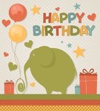 Elephant birthday greeting Royalty Free Stock Photo
