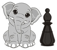 Elephant and black figure. Smiling elephant sit with black chess figure Royalty Free Stock Photography