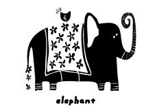 Elephant. Black line art hand drawn illustration vector Stock Photography