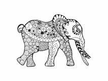 Elephant. Black white hand drawn doodle animal. Ethnic patterned vector. Sketch for poster, print, t-shirt Royalty Free Stock Image