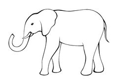 Elephant black white isolated illustration Stock Photography