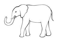 Elephant black white isolated illustration Stock Photography