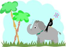 Elephant and Blackbird in a Jungle. Here is a young Elephant, blackbird, butterfly, jungle trees and grass Stock Photography