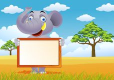 Elephant and blank sign Royalty Free Stock Photography