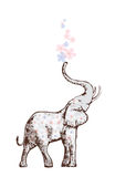 Elephant blowing flowers Stock Images