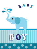 Elephant blue. Baby shower invitation card for boy on a white Royalty Free Stock Image